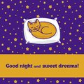 Card with cute little cat dreaming of fish Stock Photo
