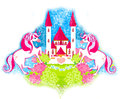 Card with a cute unicorns and fairy-tale princess castle