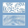 Card for cutting set. Template with palm leaves pattern for laser cut. Vector.