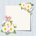 Card with daisies and bluebells flowers on a blue wooden background. Vector eps-10. Royalty Free Stock Photo
