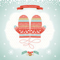 Card design with christmas mittens Royalty Free Stock Photos