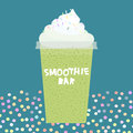 Card design smoothie bar kiwi smoothie transparent plastic cup with whipped cream on dark cyan, turquoise background. Vector