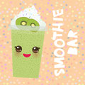 Card design smoothie bar Takeout kiwi smoothie transparent plastic cup with straw and whipped cream. on orange pink background. Ve