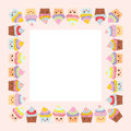 Card design with square frame, Cupcake, muzzle with pink cheeks and winking eyes, pastel colors on pink white background. Vector Royalty Free Stock Photo