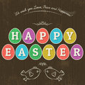 Card for easter day with eleven colored eggs and greetings tex large inscription happy written in wooden background two hand Stock Images