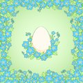Card with easter white egg vector cartoon illustration Royalty Free Stock Image