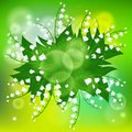Card with field of lily of the valley flowers vector spring background bouquet on shining light green bokeh illustration for Royalty Free Stock Photo