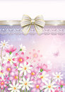 Card with flowers on elegant background in decoration Royalty Free Stock Photos