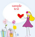 Card with girl and heart Royalty Free Stock Images
