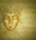 Card golden mask Royalty Free Stock Photo