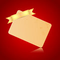 Card with a golden ribbon on red background blank sheet of paper for the congratulatory message Royalty Free Stock Image