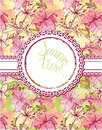 Card with hand drawn flowers - tiger lilly Royalty Free Stock Photo