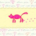 Card with Hand Drawn Pink Cat Royalty Free Stock Photo