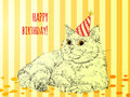 Card happy birthday vector illustration with cat may be used as birhtday Stock Images