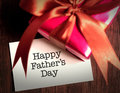 Card of happy fathers day and prensent box Royalty Free Stock Photo