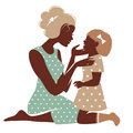 Card of happy mother's day beautiful mother silhouette with her daughter Stock Images