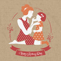 Card of happy mother s day beautiful silhouette with her daughter Stock Photo