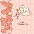 Card happy valentine s day cupid with bow and arrow Stock Photos