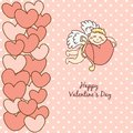 Card happy valentine s day cupid with bow this is file of eps format Royalty Free Stock Photos