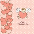 Card happy valentine s day cupid with heart in hands Royalty Free Stock Photo