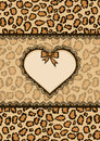 Card with heart frame and leopard fur texture wildlife pattern fashionable safari style vector illustration Stock Photos