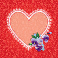 Card with Heart shape is made of lace doily Royalty Free Stock Photo