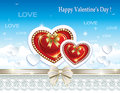 Card with hearts for valentine day vector illustr on blue sky background on valentines Royalty Free Stock Photo