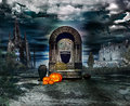 Card for helloween halloween celebration at the mystical cult Royalty Free Stock Photo