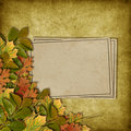 Card for the holiday  with autumn leaves Stock Photos