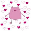 Card illustration with pink frog Royalty Free Stock Photo