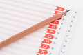 Card index closeup pencil and on white background Stock Photos