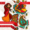 Card for indian/ethnic market with paisley ornament and cute indian woman Royalty Free Stock Photo