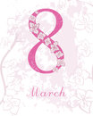 Card International Women`s Day. 8 March postcard vector template. Design greeting with big Eight. Orchid flowers.