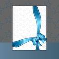 Card or invitation with blue ribbon Stock Images