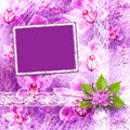 Card for invitation with bunch of flower Stock Photography