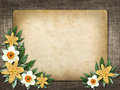 Card for invitation or congratulation with yellow lily flower in vintage style Stock Photo