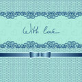 Card or invitation with lace and ribbon on any hol holiday text love Stock Photography