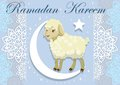 Card with lamb for Muslim festival of sacrifice. Vector illustration.
