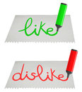 Card like dislike creative design of and message Stock Photography