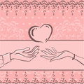 Card love vector with hands of woman and man pink soft color theme st valentines day type Stock Image