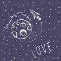 Card Love you to the moon and back Royalty Free Stock Photo