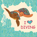 Card with marine turtles couple of swimming in a tropical sea hand drawing illustration Stock Photography