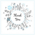 Card with medow herbs and text Thank You. Vector illustration. Illustration for greeting cards, invitations, and other