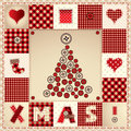 Card merry christmas with christmas tree in patchwork style Royalty Free Stock Photo