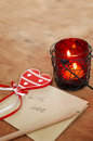 Card with Message With Love in the Letter, romantic candle holde Royalty Free Stock Photo