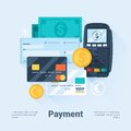 Card, Money, Coins and Cheque. Payment Methods Concept. Flat Style with Long Shadows. Clean Design. Royalty Free Stock Photo