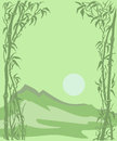 Card with a mountain landscape, sun and bamboo Royalty Free Stock Photo
