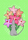 Card mouse flowers Royalty Free Stock Images