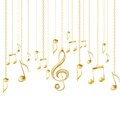 Card with musical notes and golden treble clef Royalty Free Stock Photo