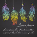 Card with Native American Indian talisman. Vector tribal feathers. Royalty Free Stock Photo